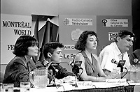 Montreal, Canada - File Photo - French filmmaker Jean-Claude Brisseau (R) news conference at the World Film Festival, August 31, 1988 for his movie DE BRUIT ET DE FUREUR.<br /> <br /> Photo :  Agence Quebec Presse - Pierre Roussel<br /> <br /> <br /> PHOTO :  Agence Quebec Presse <br /> Montreal, Canada - File Photo - French filmmaker Jean-Claude Brisseau (R) news conference at the World Film Festival, August 31, 1988 for his movie DE BRUIT ET DE FUREUR.<br /> <br /> PHOTO :  Agence Quebec Presse