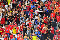 IBAGUÉ- COLOMBIA,20-07-2019:Hinchas del América de Cali ante el Deportes Tolima.Acción de juego entre los equipos  del Deportes Tolima y el América de Call durante  partido por la fecha 2 de la Liga Águila II 2019 jugado en el estadio Manuel Murillo Toro de la ciudad de Ibagué. /Fans of America of Cali agaisnt  of Deportes Tolima.Action game between teams  Deportes Tolima and America de Cali during the 2 match for  the Liga Aguila I I 2019 played at the Manuel Murillo Toro stadium in Ibague city. Photo: VizzorImage / Juan Carlos Escobar  / Contribuidor
