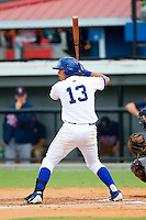 Pedro Gonzalez (13) of the Burlington Royals at bat against the Elizabethton Twins at Burlington Athletic Park on August 11, 2013 in Burlington, North Carolina.  The Twins defeated the Royals 12-5.  (Brian Westerholt/Four Seam Images)