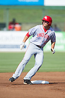 John Wooten (22) of the Hagerstown Suns stops at second base after hitting a double against the Kannapolis Intimidators at CMC-Northeast Stadium on May 31, 2014 in Kannapolis, North Carolina.  The Intimidators defeated the Suns 3-2 in game one of a double-header.  (Brian Westerholt/Four Seam Images)