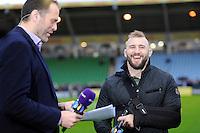 Joe Marler of Harlequins jokes with fellow  BT Sport presenter Martin Bayfield