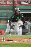 Dayton Dragons right fielder Michael Beltre (36) starts down the first base line against the Burlington Bees at Community Field on May 3, 2018 in Burlington, Iowa.  (Dennis Hubbard/Four Seam Images)