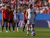 REIMS,  - JUNE 24: Megan Rapinoe #15 stands over the ball during a game between NT v Spain and  at Stade Auguste Delaune on June 24, 2019 in Reims, France.