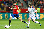 Spain's Diego Costa (l) and Israel's David Yair Keltjens during FIFA World Cup 2018 Qualifying Round match. March 24,2017.(ALTERPHOTOS/Acero)