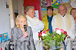 the opening of the extension to Kilconly School, Ballybunion as principal Patricia Boyle, Bishop Bill Murphy and Fr. Hegarty look on.   Copyright Kerry's Eye 2008