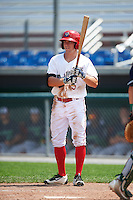 Auburn Doubledays center fielder Jack Sundberg (5) at bat during a game against the Vermont Lake Monsters on July 13, 2016 at Falcon Park in Auburn, New York.  Auburn defeated Vermont 8-4.  (Mike Janes/Four Seam Images)