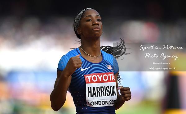 KendraHARRISON (USA) in the womens 100m hurdles heats. IAAF world athletics championships. London Olympic stadium. Queen Elizabeth Olympic park. Stratford. London. UK. 11/08/2017. ~ MANDATORY CREDIT Garry Bowden/SIPPA - NO UNAUTHORISED USE - +44 7837 394578