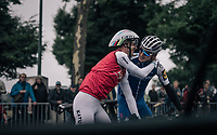 Greetings between countrymen Tony Martin (GER/Katusha-Alpecin) and Marcel Kittel (DEU/QuickStep Floors) during course recon<br /> <br /> 104th Tour de France 2017<br /> Stage 1 (ITT) - D&uuml;sseldorf &rsaquo; D&uuml;sseldorf (14km)