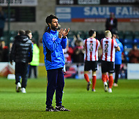 Lincoln City manager Danny Cowley celebrates the victory<br /> <br /> Photographer Andrew Vaughan/CameraSport<br /> <br /> Vanarama National League - Lincoln City v Chester - Tuesday 11th April 2017 - Sincil Bank - Lincoln<br /> <br /> World Copyright &copy; 2017 CameraSport. All rights reserved. 43 Linden Ave. Countesthorpe. Leicester. England. LE8 5PG - Tel: +44 (0) 116 277 4147 - admin@camerasport.com - www.camerasport.com