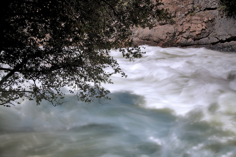 Hi water flow in spring on South Fork Kings River. Kings Canyon National Park, California