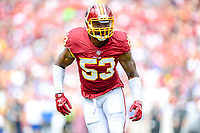 Landover, MD - September 16, 2018: Washington Redskins linebacker Zach Brown (53) eyes the quarterback during game between the Indianapolis Colts and the Washington Redskins at FedEx Field in Landover, MD. The Colts defeated the Redskins 21-9.(Photo by Phillip Peters/Media Images International)