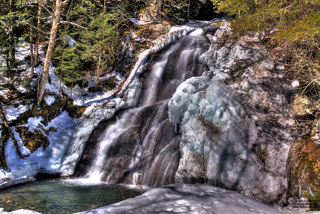 Moss Glen Falls in , Vermont, in HDR, the product of seven exposures. The waterfall is half frozen.