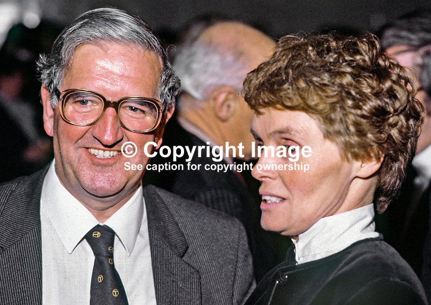 Ken Bloomfield, head of N Ireland Civil Service, with his wife, Elizabeth. Ref: 1985010101.<br />
