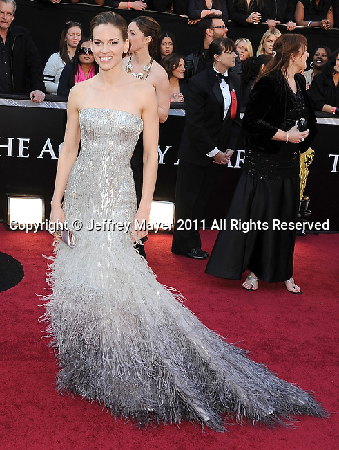 HOLLYWOOD, CA - FEBRUARY 27: Hilary Swank arrives at the 83rd Annual Academy Awards held at the Kodak Theatre on February 27, 2011 in Hollywood, California.