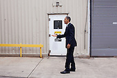 Allentown, PA - December 4, 2009 -- United States President Barack Obama prepares to greet workers during a shift change at Nestlé Purina PetCare facility in Allentown, Pa., Friday, December 4, 2009.  .Mandatory Credit: Pete Souza - White House via CNP