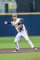 Michigan Wolverines shortstop Michael Brdar (9) makes a throw to first base against the Bowling Green Falcons on April 6, 2016 at Ray Fisher Stadium in Ann Arbor, Michigan. Michigan defeated Bowling Green 5-0. (Andrew Woolley/Four Seam Images)