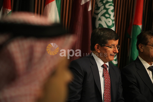 Arab League General Secretary Nabil al-Arabi and Turkish Foreign Minister Ahmet Davutoglu meet with Palestinian prime minister in Gaza Strip, Ismail Haniya in Gaza city, Tuesday, Nov. 20, 2012. Turkey's foreign minister and a delegation of Arab League foreign ministers traveled to Gaza on a truce mission on Tuesday. Photo by Ashraf Amra