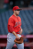 Relief pitcher Chase Chaney (53), of the AZL Angels, walks off the field between innings of an Arizona League game against the AZL Padres 1 on August 5, 2019 at Tempe Diablo Stadium in Tempe, Arizona. AZL Padres 1 defeated the AZL Angels 5-0. (Zachary Lucy/Four Seam Images)