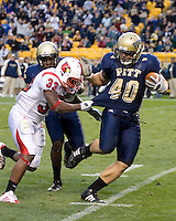 November 08, 2008: Pitt linebacker Scott McKillop returns an interception 18 yards for a touchdown. The Pitt Panthers defeated the Louisville Cardinals 41-7 on November 08, 2008 at Heinz Field, Pittsburgh, Pennsylvania.