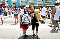 Championship ring and trophy at Miami Heat NBA 2013 Championship parade, Biscayne Boulevard, American Airlines Arena, Miami, FL, June 24, 2013