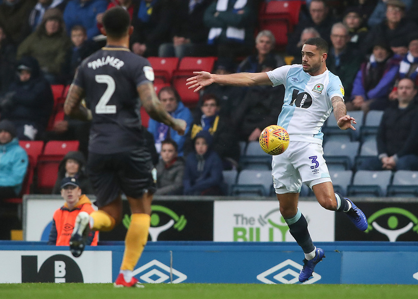 Blackburn Rovers' Derrick Williams and Sheffield Wednesday Liam Palmer<br /> <br /> Photographer Rachel Holborn/CameraSport<br /> <br /> The EFL Sky Bet Championship - Blackburn Rovers v Sheffield Wednesday - Saturday 1st December 2018 - Ewood Park - Blackburn<br /> <br /> World Copyright © 2018 CameraSport. All rights reserved. 43 Linden Ave. Countesthorpe. Leicester. England. LE8 5PG - Tel: +44 (0) 116 277 4147 - admin@camerasport.com - www.camerasport.com