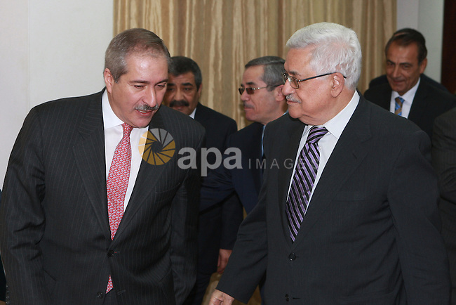 Palestinian President Mahmoud Abbas, meet with with the Jordanian Foreign Minister Nasser Judeh, in the West Bank city of Ramallah, on March 07, 2012.  Photo by Thaer Ganaim