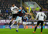 Burnley's Chris Wood shields the ball from Fulham's Tim Ream<br /> <br /> Photographer Alex Dodd/CameraSport<br /> <br /> The Premier League - Burnley v Fulham - Saturday 12th January 2019 - Turf Moor - Burnley<br /> <br /> World Copyright © 2019 CameraSport. All rights reserved. 43 Linden Ave. Countesthorpe. Leicester. England. LE8 5PG - Tel: +44 (0) 116 277 4147 - admin@camerasport.com - www.camerasport.com