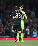 Arsenal's Petr Cech hugs with Chelsea's Thibaut Courtois during the Premier League match at the Emirates Stadium, London. Picture date September 24th, 2016 Pic David Klein/Sportimage