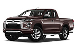 Stock pictures of low aggressive front three quarter view of 2020 Mitsubishi L200 Invite 4 Door Pick-up Low Aggressive