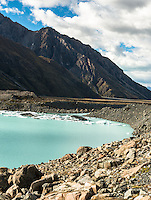 Terminal lake of Tasman Glacier with icebergs, Aoraki Mount Cook National Park, UNESCO World Heritage Area, Mackenzie Country, New Zealand, NZ