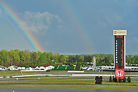 A rainbow falls over Barber Motorsports Park in Birmingham, Alabama Friday afternoon. The day's activities were called early due to thunderstorms and heavy rains.