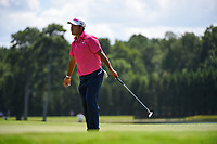 Hideki Matsuyama (JPN) reacts to barely missing his birdie putt on 8 during round 1 of the 2019 Tour Championship, East Lake Golf Course, Atlanta, Georgia, USA. 8/22/2019.<br /> Picture Ken Murray / Golffile.ie<br /> <br /> All photo usage must carry mandatory copyright credit (© Golffile | Ken Murray)