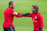 Ashley Williams and Joe Allen stretch during the Wales open Training session ahead of the opening FIFA World Cup 2018 Qualification match against Moldova at The Vale Resort, Cardiff, Wales on 31 August 2016. Photo by Mark  Hawkins / PRiME Media Images.