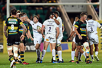 Bath Rugby forwards get congratulated after a strong scrum. Aviva Premiership match, between Northampton Saints and Bath Rugby on September 15, 2017 at Franklin's Gardens in Northampton, England. Photo by: Patrick Khachfe / Onside Images