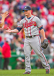 4 April 2014: Atlanta Braves pitcher Craig Kimbrel is congratulated on closing out the Washington Nationals Home Opening Game at Nationals Park in Washington, DC. The Braves edged out the Nationals 2-1 in their first meeting of the 2014 MLB season. Mandatory Credit: Ed Wolfstein Photo *** RAW (NEF) Image File Available ***