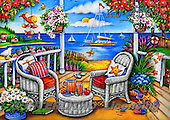 Interlitho-Theresa, LANDSCAPES, LANDSCHAFTEN, PAISAJES,sea,beach,drinks,sailing boat, paintings+++++,garden,KL4503,#l# ,puzzles