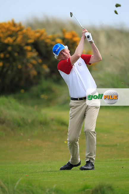 playing with Gary Murphy (Flogas Ambassador and former European Tour player) on the 8th tee during the Flogas Irish Amateur Open Championship Am-Am at Royal Dublin on Monday 9th May 2016.<br /> Picture:  Thos Caffrey / www.golffile.ie