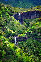 "Kahili Falls (""Five Sisters Falls""). Kauai, Hawaii"