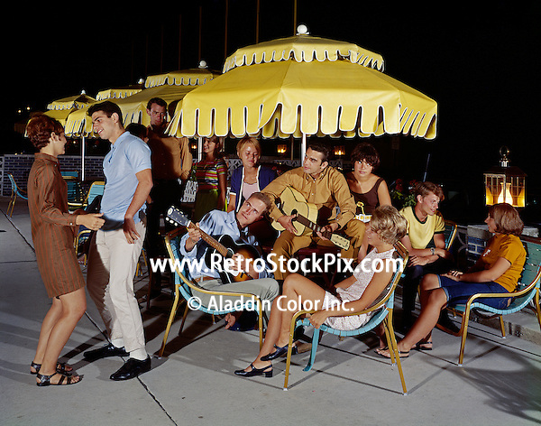 Retro photographs of teenagers singing & dancing to the guitar players. Admiral Motel, Wildwood, NJ. Retro Motel from the 1960's