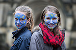 © Joel Goodman - 07973 332324 . 28/06/2016 . Manchester , UK . Sisters Rosa Haworth (17) and Molly Haworth (13) with faces painted with the EU flag . Anti Brexit protesters in Albert Square , outside Manchester Town Hall , in central Manchester . Photo credit : Joel Goodman