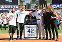 Mariano Rivera (Yankees),<br /> SEPTEMBER 22, 2013 - MLB :<br /> Mariano Rivera of the New York Yankees is presented with a speaker cabinet by the band Metallica during his retirement ceremony before the Major League Baseball game against the San Francisco Giants at Yankee Stadium in The Bronx, New York, United States. (Photo by Thomas Anderson/AFLO) (JAPANESE NEWSPAPER OUT)(L to R) Robert Trujillo, James Hetfield, Mariano Rivera, Lars Ulrich and Kirk Hammett
