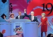 Former United States Senator Bob Dole (Republican of Kansas) and former US Secretary of Housing and Urban Development Jack Kemp on the podium with their wives after accepting the 1996 Republican Party nomination for President and Vice President of the United States at the 1996 Republican National Convention at the San Diego Convention Center in San Diego, California on August 15, 1996.  From left to right: Former US Secretary of Labor Elizabeth Hanniford Dole, Senator Dole, Secretary Kemp, and Joanne Kemp.<br /> Credit: Ron Sachs / CNP