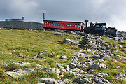 Mount Washington Cog on the summit of Mount Washington in the White Mountains, New Hampshire USA. This is the Waumbek Locomotive.