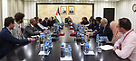Palestinian Prime Minister Mohammad Ishtayeh, receives a delegation of foreign NGOs working in Palestine in the West Bank city of Ramallah, on September 19, 2019. Photo by Prime Minister Office