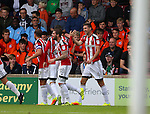 Chris Basham of Sheffield Utd celebrates his goal during the English League One match at Glanford Park Stadium, Scunthorpe. Picture date: September 24th, 2016. Pic Simon Bellis/Sportimage