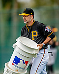 5 March 2019: Pittsburgh Pirates Defensive Coordinator Jamey Carroll tends to minor league players at Pirate City in Bradenton, Florida. Mandatory Credit: Ed Wolfstein Photo *** RAW (NEF) Image File Available ***