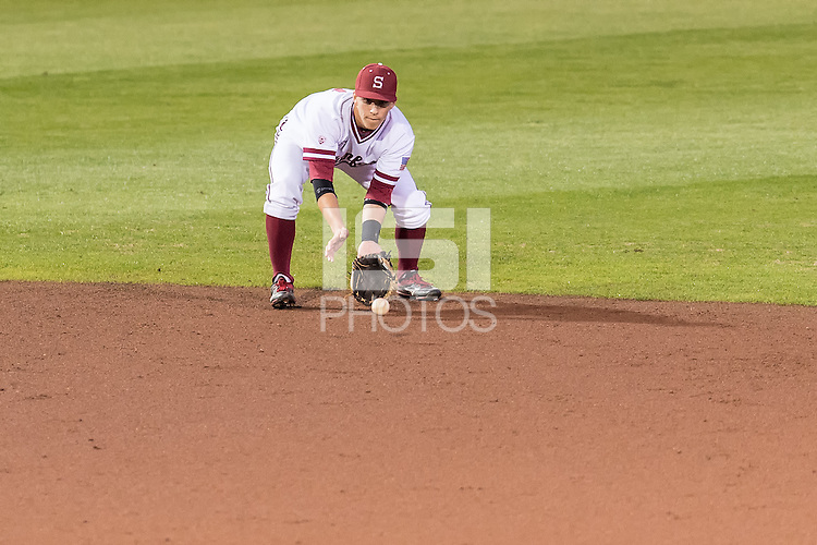 STANFORD, CA - March 18, 2016: The Stanford Cardinal baseball team vs the Kansas Jayhawks at  Klein Field at Sunken Diamond Stadium in Stanford, California. Final score, Stanford 2, Kansas 0.