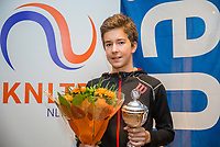 Hilversum, Netherlands, December 3, 2017, Winter Youth Circuit Masters, 12,14,and 16 years,  winner boys 14 years Luka Novakovic<br /> Photo: Tennisimages/Henk Koster