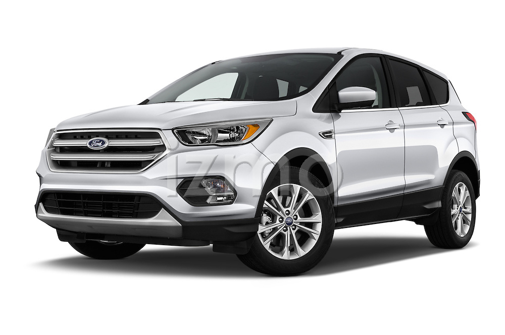 Stock pictures of low aggressive front three quarter view of 2017 Ford Escape SE 5 Door SUV Low Aggressive