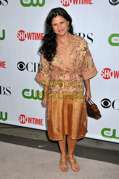 TRACEY ULLMAN.CBS, CW and Showtime TCA Press Tour Party 2009 held at the Huntington Library, Pasadena, CA, USA..August 3rd, 2009.full length beige gold orange skirt embroidered top wrap.CAP/ADM/BP.©Byron Purvis/AdMedia/Capital Pictures.